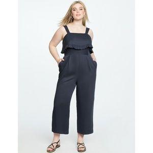 Eloquii Black Jumpsuit Wide Leg Sleeveless Ruffle